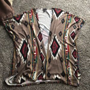 "Tribal print. ""Poncho"" style short sleeve cardigan"